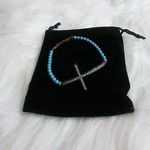 Sky Blue beaded 925 Gold Cross bracelet